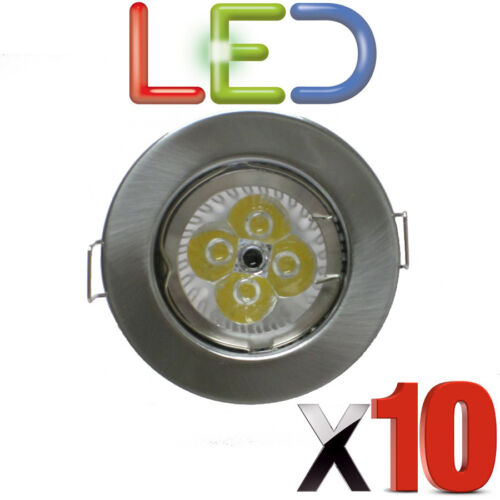 10 X LED GU10 DOWNLIGHT MAINS 240V 6 WATT LED BRIGHT RECESSED BRUSHED CHROME NEW