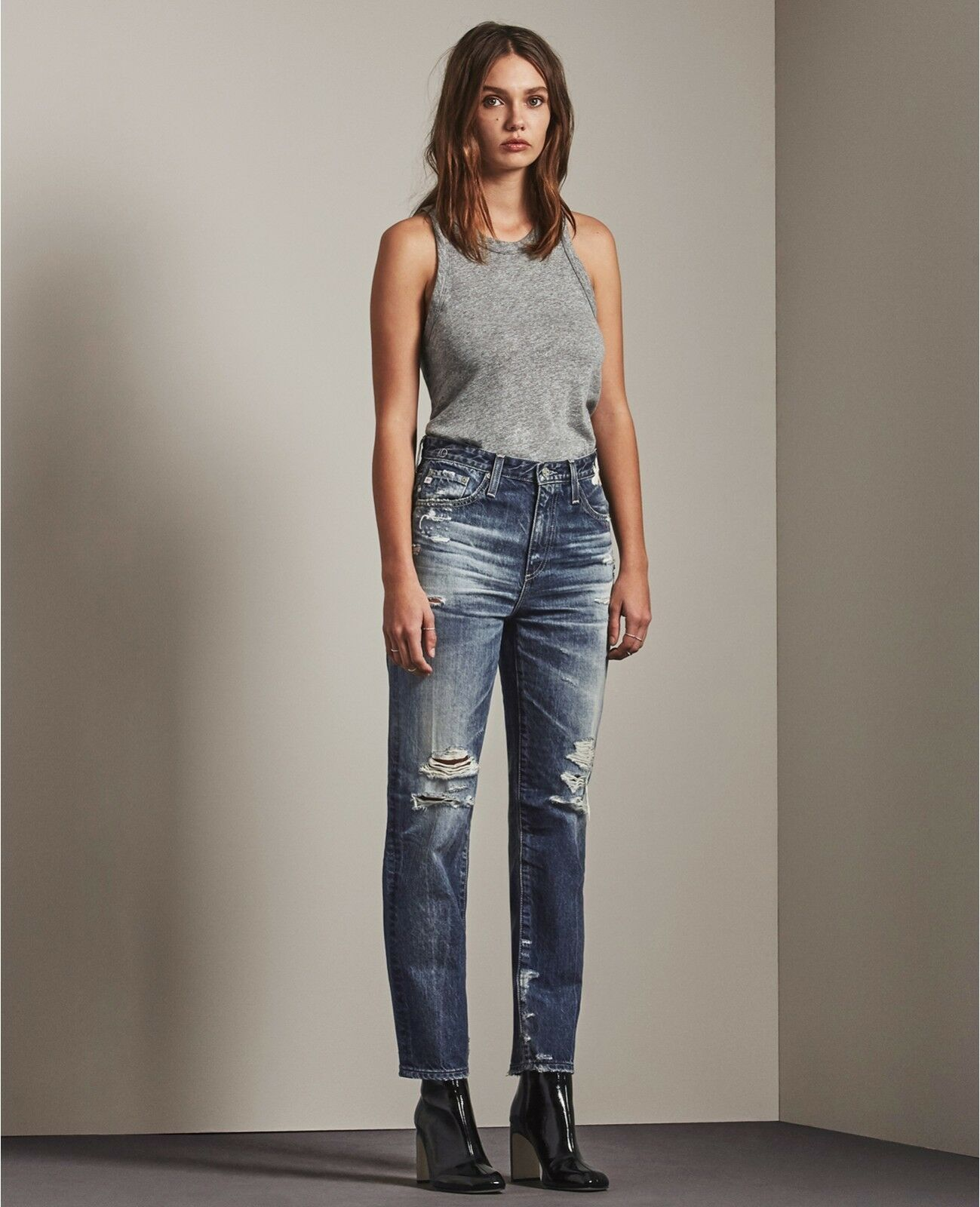 AG Adriano goldschmied Phoebe High Rise Straight Crop 23 Yr Woven Dream, Size 26