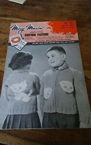 Vtg-Mary-Maxim-knitting-pattern-541-childs-cardigan-kitty-kat-sz-4-6