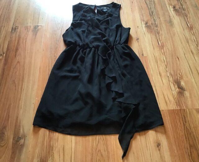 H&M Kleid, Cocktailkleid, Etuikleid Gr. 42, L schwarz mit Rüschen TOP !!!