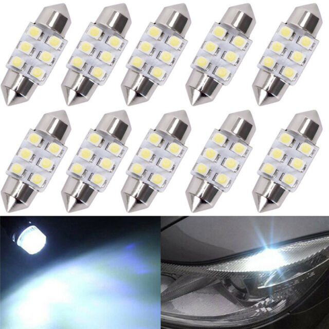 10Xwhite 31Mm Festoon Dome Map Interior Led Light 3528 6-Smd Lamp De3175 3022 I2