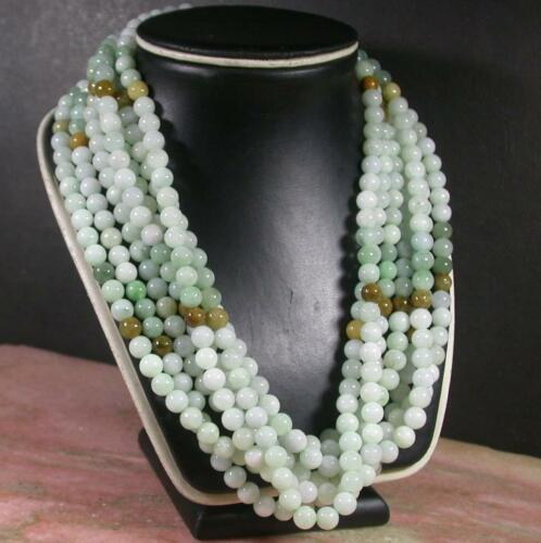 Green Yellow 100/% Natural A JADE Jadeite Bead beads Necklace 21 inches 407376