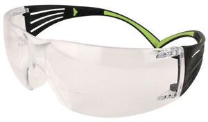 3M SecureFit Reader +2.00 Eyewear Safety Glasses Black/Lime Accent Anti-Fog Lens