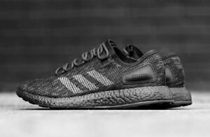 9a1906681 Image is loading adidas-PureBOOST-Running-Shoes-Triple-Black-Grey-BB6288-