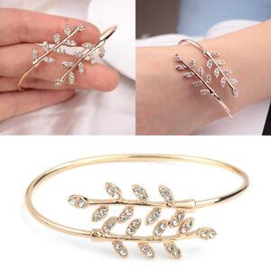Ethnic-Women-Bracelet-Delicate-Leaf-Open-Bangle-Bracelet-Arm-Cuff-Jewelry