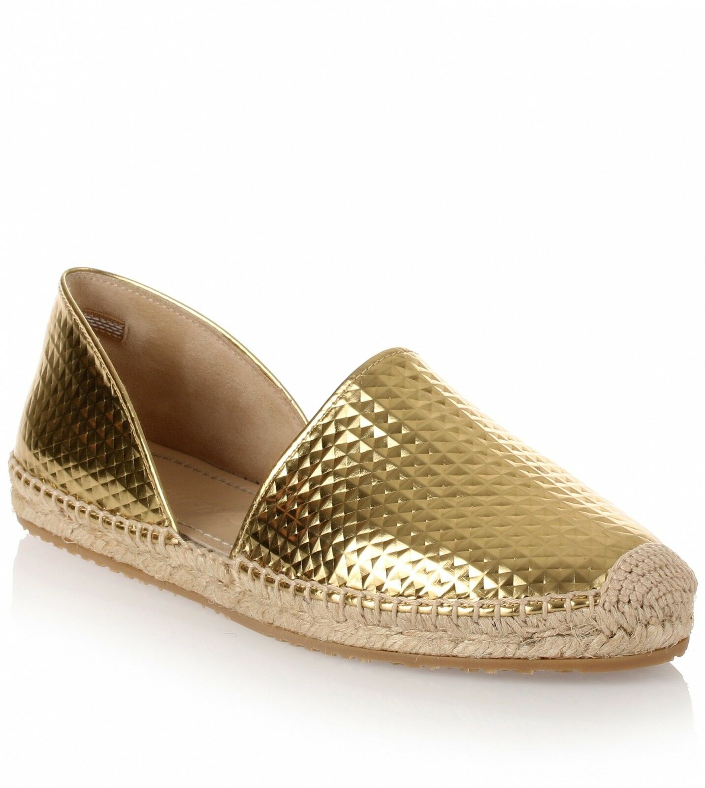 Jimmy Choo Dreya Gold Cubed Mirror Leather Espadrille Flat Shoe Espadrille 36.5