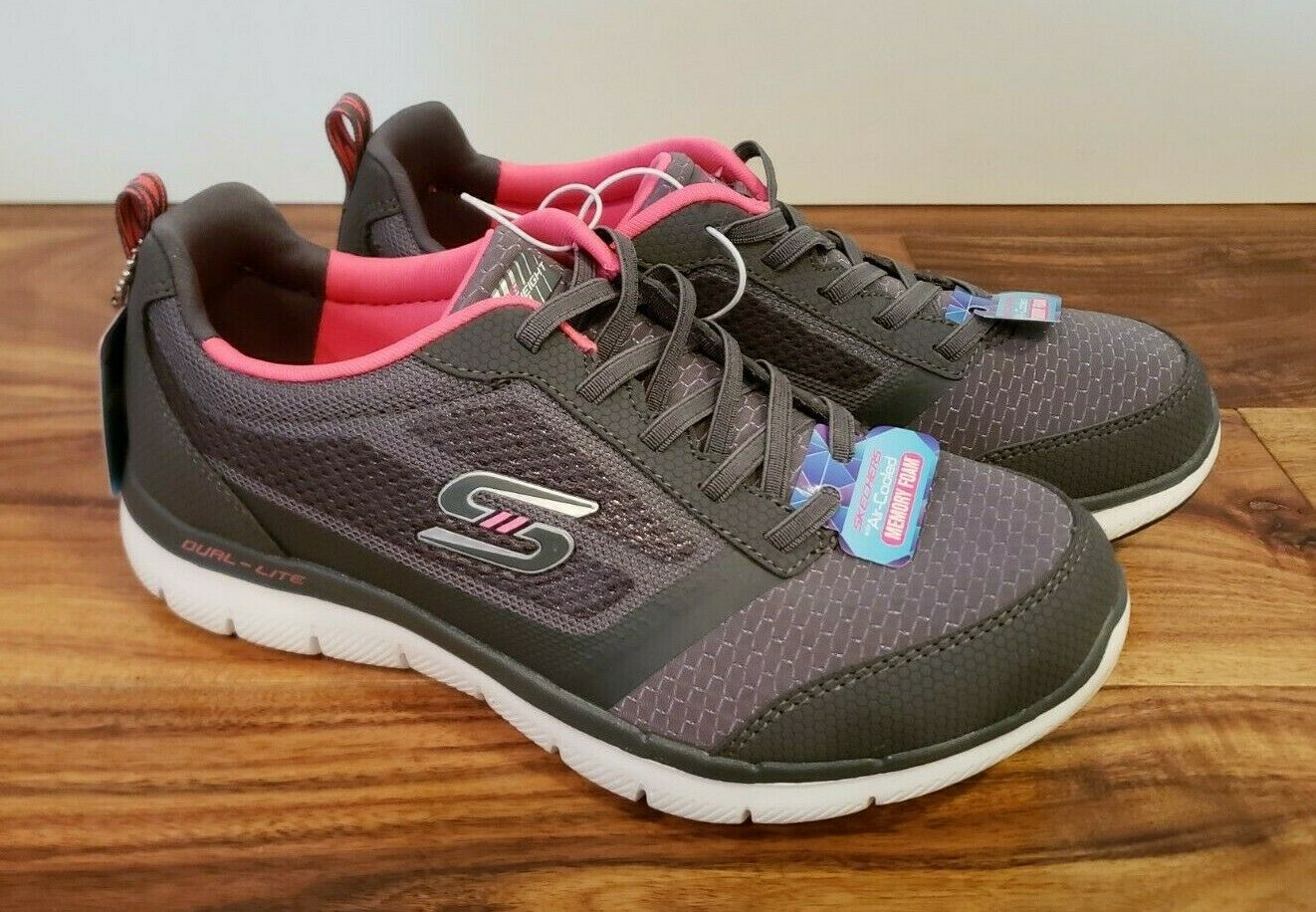 NEW Women's SKECHERS Gray Pink Bungee Slip On Flex Appeal Athletic Shoes 10 US
