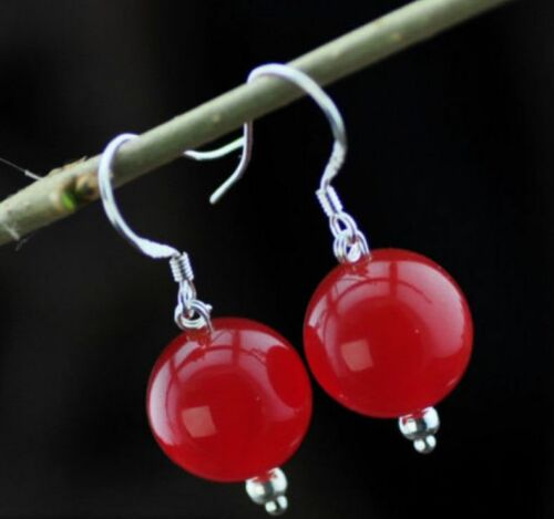 Natural Huge Red 14mm Ruby Sterling Hook Dangle Earrings