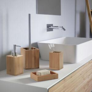 Set accessori bagno da appoggio in bambù naturale e acciaio Gedy linea Bambù