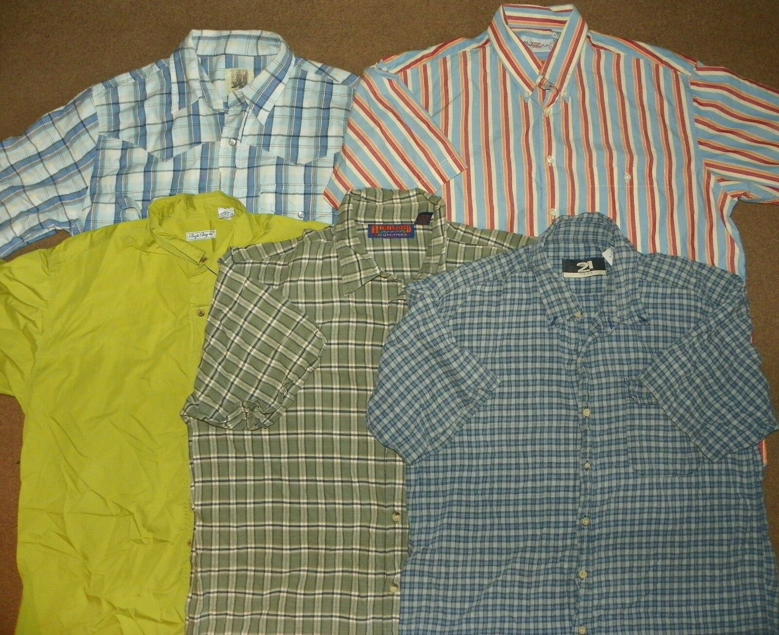 5 Mens Button-Up Casual Dress SHIRTS Large RUE 21 Highland Outfitters BUGLE BOY