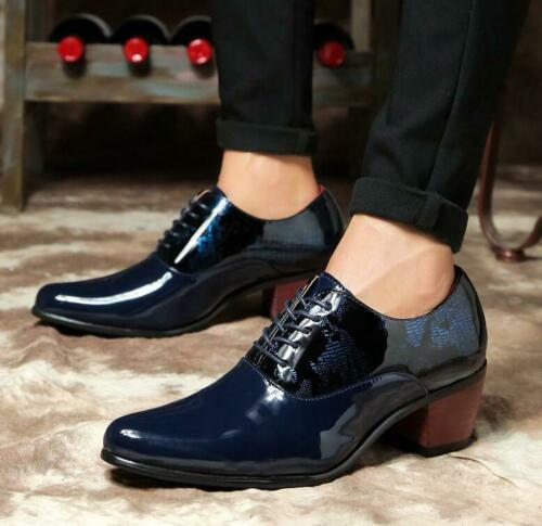Mens Lace Up Pointy Toe Pumps Mid Cuban Heel Shiny Casual Dress Party Shoes Hot