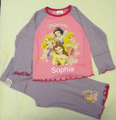 Personalizzata Disney Princess Rosa Lilla Pigiama Età 18 da lunedì a 3 anni con un nome