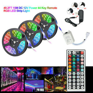 10M-15M-3528-SMD-RGB-LED-Strip-Light-44-Key-Remote-12V-DC-Power-Full-Kit-tape