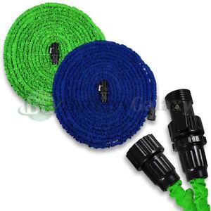 Deluxe-25-50-75-100-Feet-Expandable-Flexible-Garden-Water-Hose-Nozzle-Green-Blue
