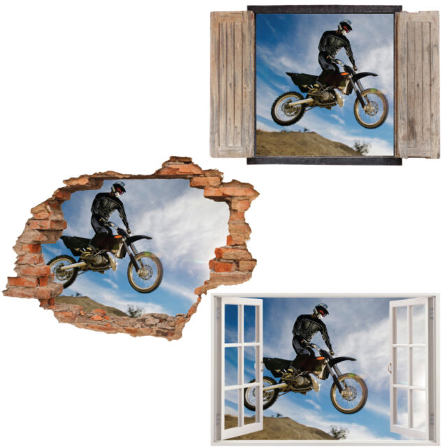 Window Wall Sticker Decal Vinyl 3D Dirt Bike Print