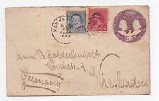 USA COLUMBUS 2c STATIONERY UPRATED 2c +1c  GERMANY 1893 PAID CIRCLE