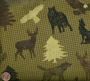 Northern-Expression-wildlife-olive-check-Benartex-fabric