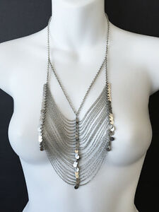 $210 CHANU LUU Multi-Strand Silver Chain Statement NECKLACE EUC!