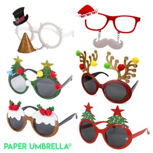 Novelty Reindeer Glitter Glasses Fancy dress Christmas Party Adults Kids