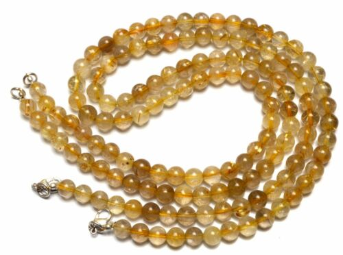 "Natural Gem Golden Rutile Quartz Round 7MM Smooth Ball Shape Beads Necklace18.5/"""