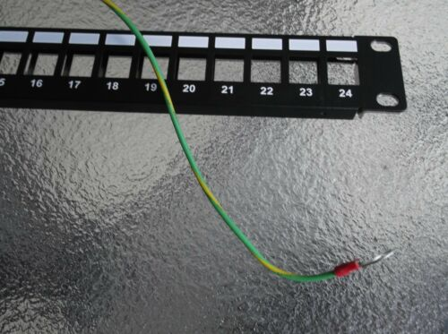 "Blank 24 Port Patch Panel Rackmount RJ11,RJ12,RJ45-1RU x 19/"" SHIELDED Ground UL"