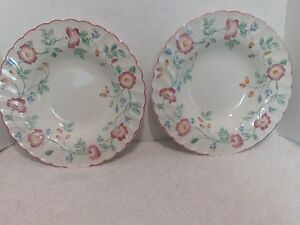 Image is loading Churchill-English-Tableware -Staffordshire-Briar-Rose-2-Rimmed- & Churchill English Tableware Staffordshire Briar Rose 2 Rimmed Soup ...