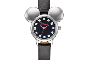 Image is loading MICKEY-MOUSE-DISNEY-EARS-SILHOUETTE-WATCH-BLACK-FAUX-