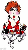6 Loralie Hair Stylist Beauty Salon Hairdresser Lady Fabric Applique Iron On