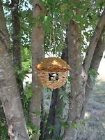 Bird House Round Hanging Grass Organic Roosting Pocket Birdhouse