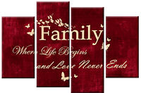 RED TONED CREAM CANVAS FAMILY QUOTE WRITING PICTURE 4 PANEL SPLIT WALL ART 100cm