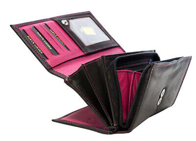 Damen Geldbörse Vollleder Schwarz 25 Fächer Portemonnaie Damenbörse Lederbörse