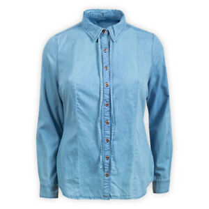 Womens Ladies Plus Size Blue Denim Shirt Casual Cotton Collared Blouse Top