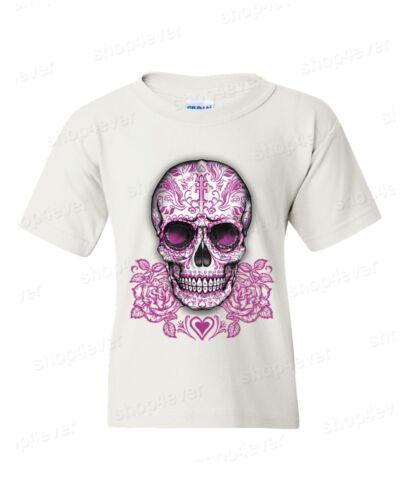 Sugar Skull Cross Pink Roses Youth/'s T-Shirt Day of the Dead Los Muertos Tees