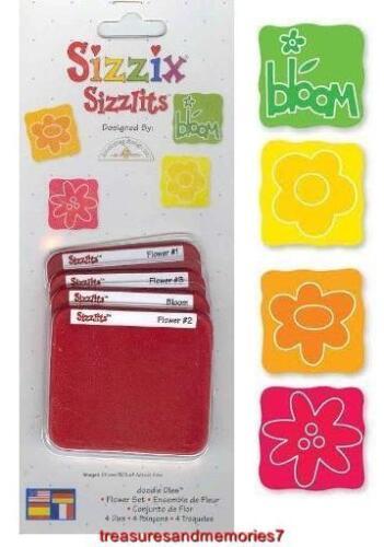 Sizzix Sizzlits FLOWER SET 4 Dies RETIRED HTF Super cute cuts flowers and frames