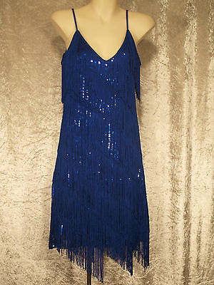 1920's Great Gatsby Style Flapper Party Dress Fringe Over Sequins