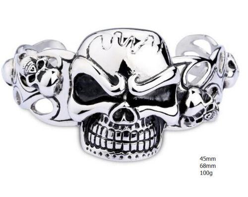 Hip-Hop Hommes Lourde Acier inoxydable Squelette Crâne Biker Bracelet Ouvert Bangle