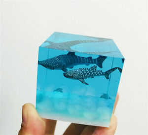 Resin Diver Whale Shark Ornaments Luminous Ocean Model Collectible Gift In Box