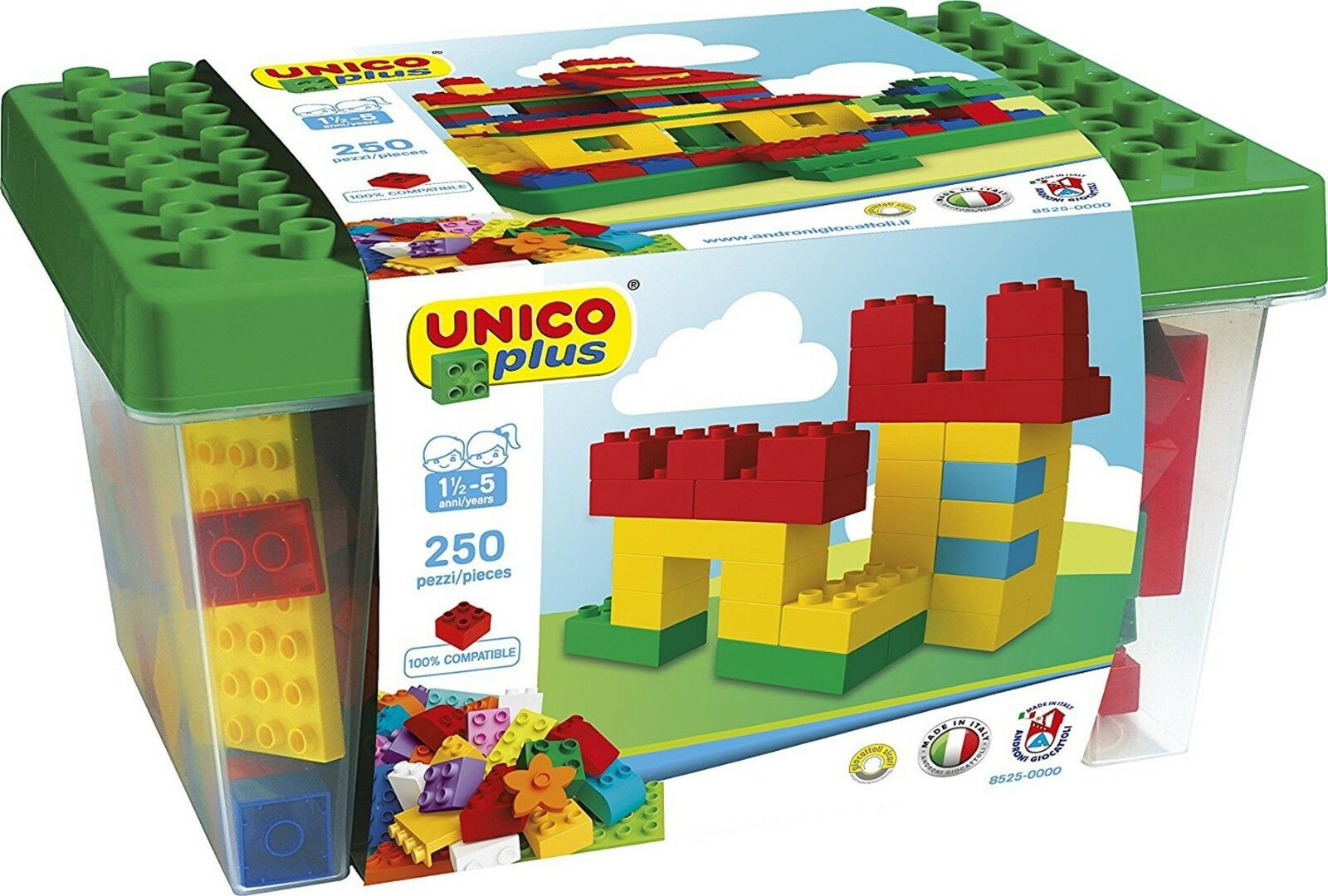 Unico Plus Big Box 250 Bausteine mit Platte kompatibel ab 1 5 Jahre 228065