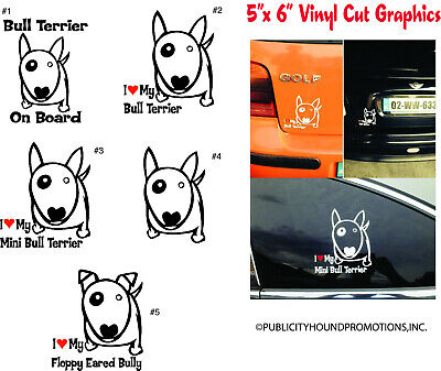 Bull Terrier dog car bumper sticker decal 6 x 6 Sticker Stand