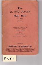 K&E Log-Log Duplex Slide Rule Manual, sliderule, very good condition, (P651)