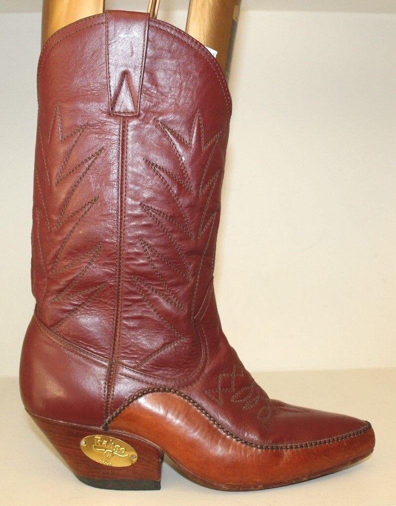 Rahgo Damenschuhe Stiefel Sz 9 / 41 41 41 ROT and Braun Leder Western Riding Cowgirl VTG 3c4c37