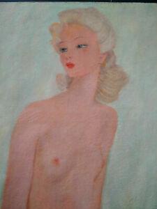 Tableau signé dlg Jean-Gabriel Domergue jeune femme nue curiosa huile / toile