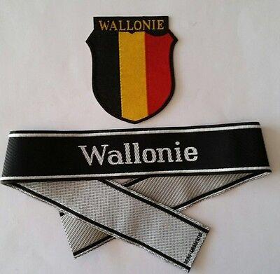 Bande de bras Ärmelband Bevo + Ecusson de bras WALLONIE WWII - Repro