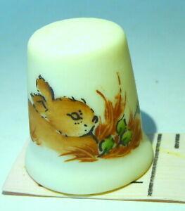 Made in USA U S A Bunny Rabbit Thimble Vintage signed Lelong porcelain