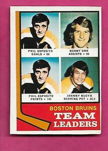 1974-75-OPC-28-BRUINS-ESPOSITO-ORR-LEADERS-EX-MT-CARD-INV-C0352