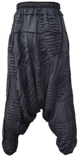 Uomo Cotone Leggero Cavallo Basso Genio Nero Patchwork Pantaloni Harem