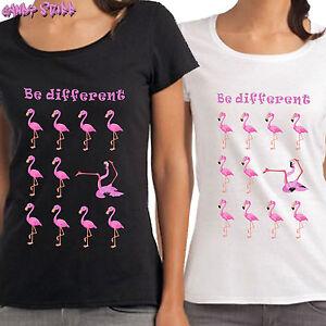 Be Different Flamingo Damen T Shirt Lustige Coole Spruche Fun Ebay