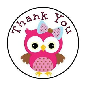48-Thank-You-Owl-Pink-ENVELOPE-SEALS-LABELS-STICKERS-1-2-034-ROUND