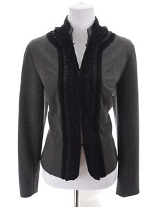 Coldwater-Creek-Victorian-Ruffled-Jersey-Knit-Stretch-Jacket-Gray-Sz-12-Large