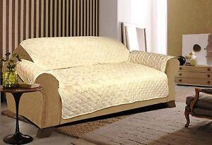 Crème Matelassé Sofa-canapé-slip Cover/pet Protecteur En 3 Tailles (nouveauté)-afficher Le Titre D'origine